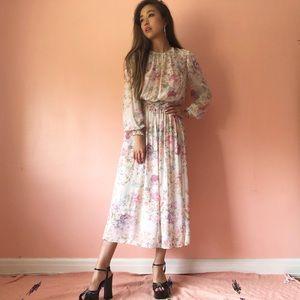 Zara English Garden Floral Midi Dress